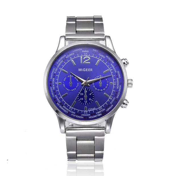 Mens Watches Top Brand Luxury Crystal Stainless Steel Analog Quartz Wrist Watch Men's Watches Are Fashionable #TX4