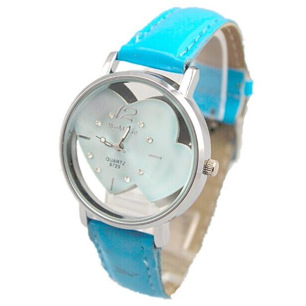 Relogios Femininos Lady Elegance Watch Womage 9 Colors Leather Band Double Heart Crystal Face Women Casual Quartz Fashion Watch