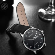 Watch Men Luxury Quartz Stainless Steel Dial PU Leather Strap Wrist Watch Fashion Reloj Hombre 2018 Relogio Masculino Erkek Saat