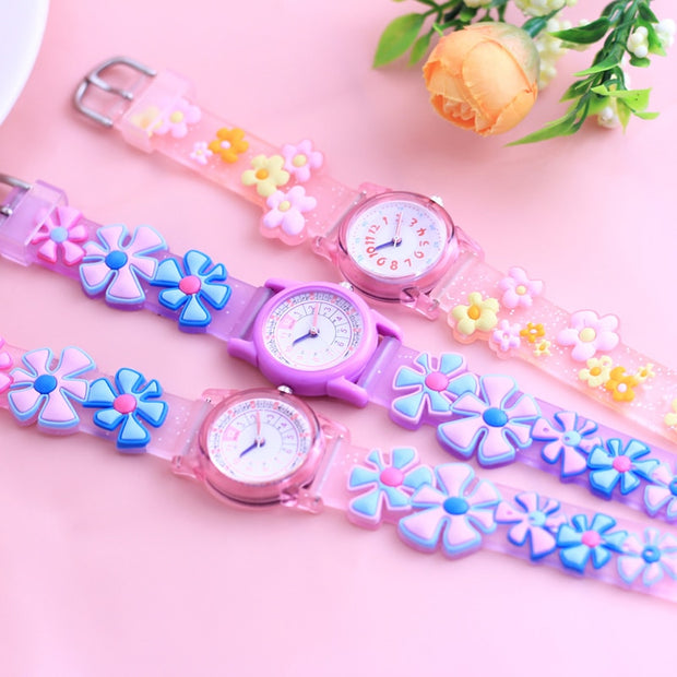 Willis Famous Brand Children Girls 3D Lovely Cute Sunflower Quartz Wristwatches Students 24 Hours Gifts Watches Montre Enfant