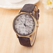 Woman Watch 2018 Retro Newspaper Design Pattern Watches PU Leather Female Quartz Wrist Watch Zegarek Damski