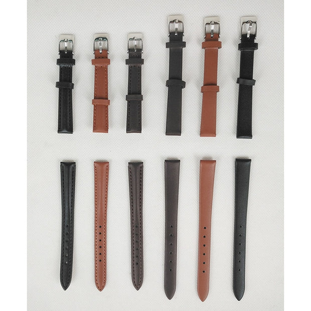 Women Men Genuine Leather Waterproof Watchband Watches Strap 12mm Suitable For All Brands White Black Red Pink...24color