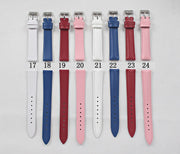 Women Men Genuine Leather Waterproof Watchband Watches Strap 18mm Suitable For All Brands White Black Red Pink...24color