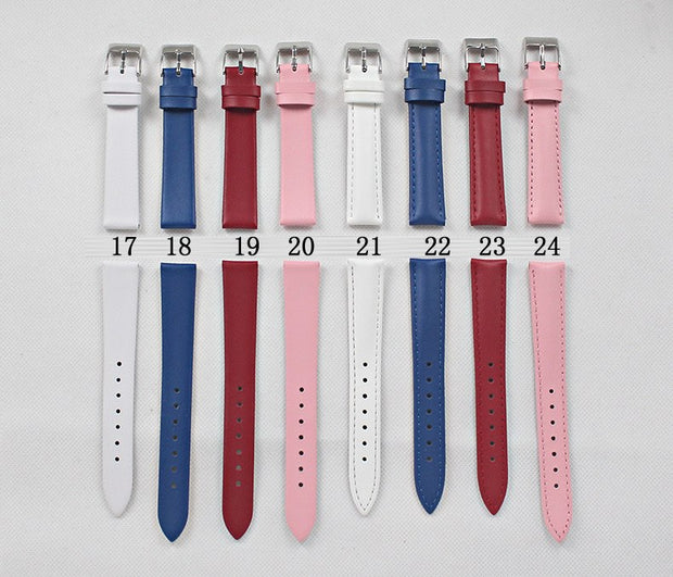 Women Men Genuine Leather Waterproof Watchband Watches Strap 20mm Suitable For All Brands White Black Red Pink...24color