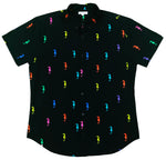 """Galloping Seahorse"" Black Short Sleeve Button Down"