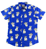 """Party Koala"" Blue Short Sleeve Button Down"