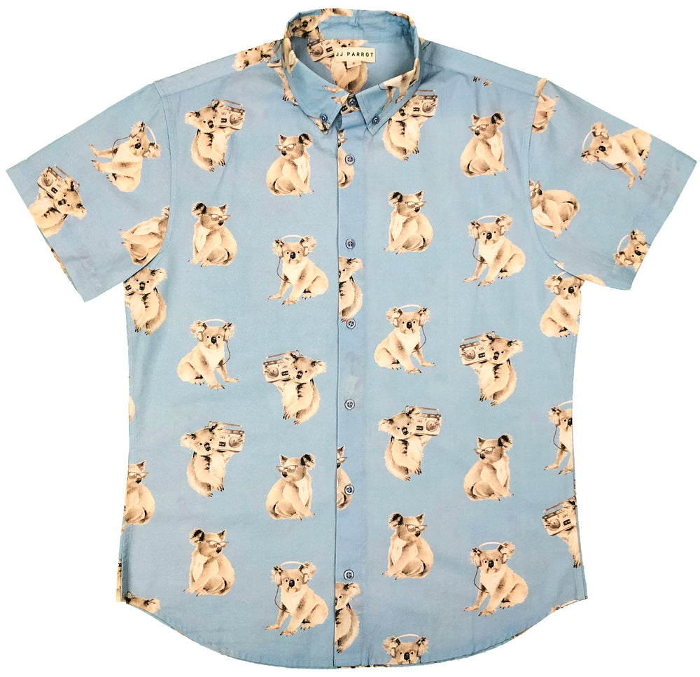 """Party Koala"" Baby Blue Short Sleeve Button Down"