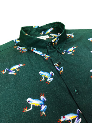 """Leap Frog"" Green Short Sleeve Button Down - JJ Parrot"