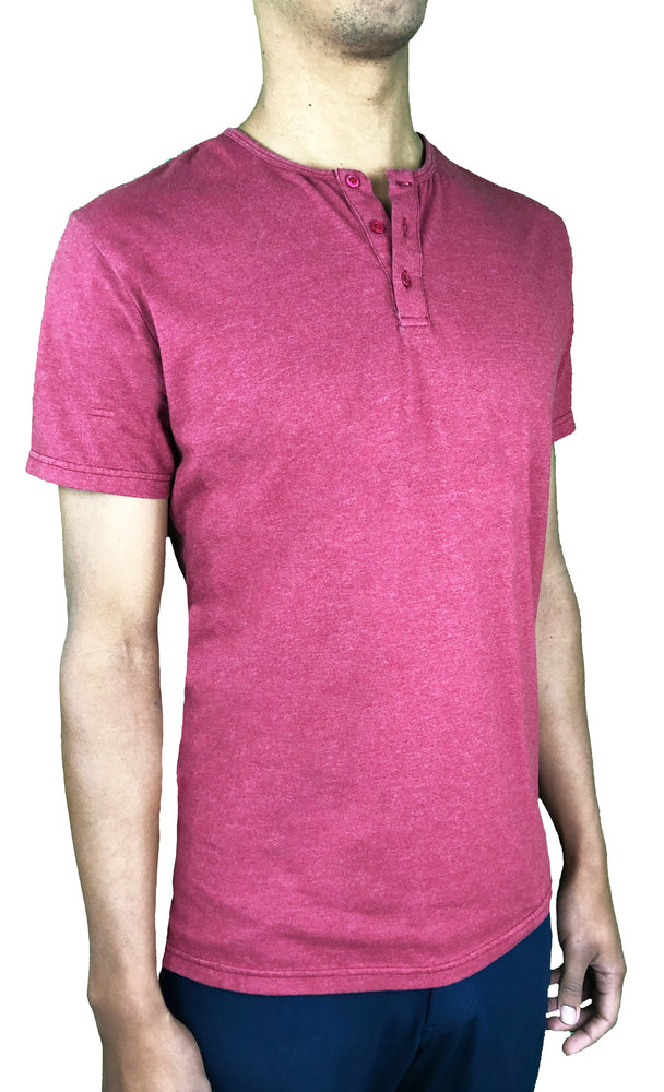 """Medium Rare"" Red Split Hem Henley - JJ Parrot"
