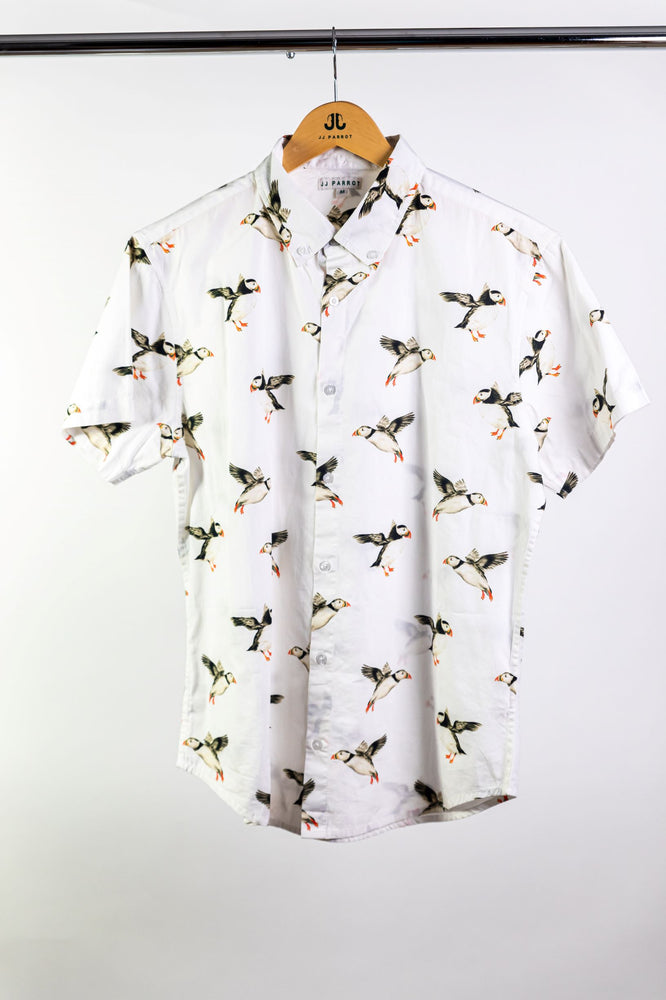 """Puffins Not Penguins"" White Short Sleeve Button Down"