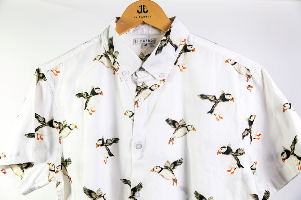 """Puffins Not Penguins"" White Short Sleeve Button Down - JJ Parrot"
