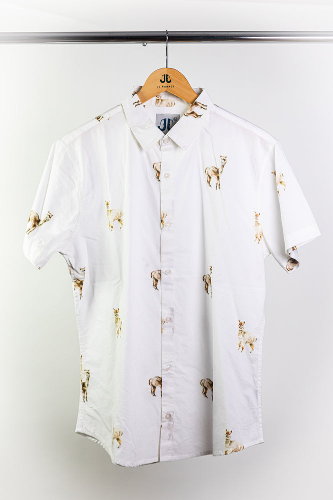 """Fluffy Alpaca"" White Short Sleeve Button Down"