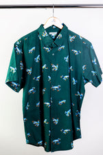 """Leap Frog"" Green Short Sleeve Button Down"