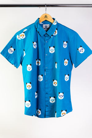 """Chill Panda"" Blue Short Sleeve Button Down"