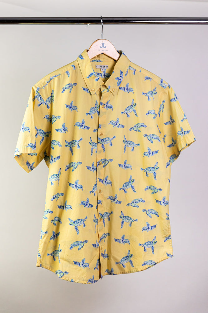 """I Like Turtles"" Yellow Short Sleeve Button Down"