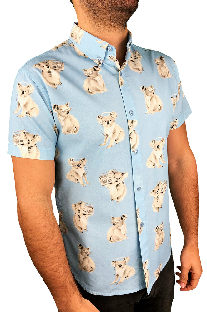"""Party Koala"" Baby Blue Short Sleeve Button Down - JJ Parrot"