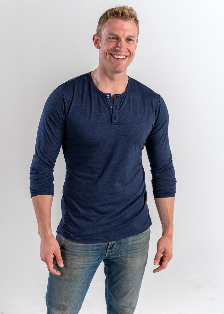 Navy Long Sleeve Henley