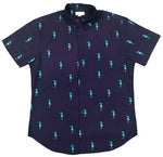 """Galloping Seahorse"" Navy Short Sleeve Button Down"
