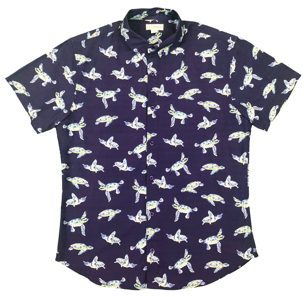 """I Like Turtles"" Navy Short Sleeve Button Down"
