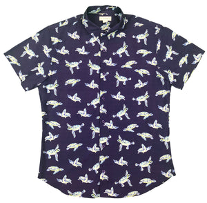 """I Like Turtles"" Navy Short Sleeve Button Down - JJ Parrot"