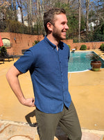 """Royal Blue"" Solid Short Sleeve Button Down - JJ Parrot"