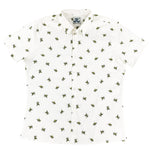 """Sweet Honey Bees"" White Short Sleeve Button Down"