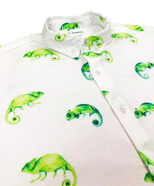 """Karma Chameleon"" White Short Sleeve Button Down - JJ Parrot"
