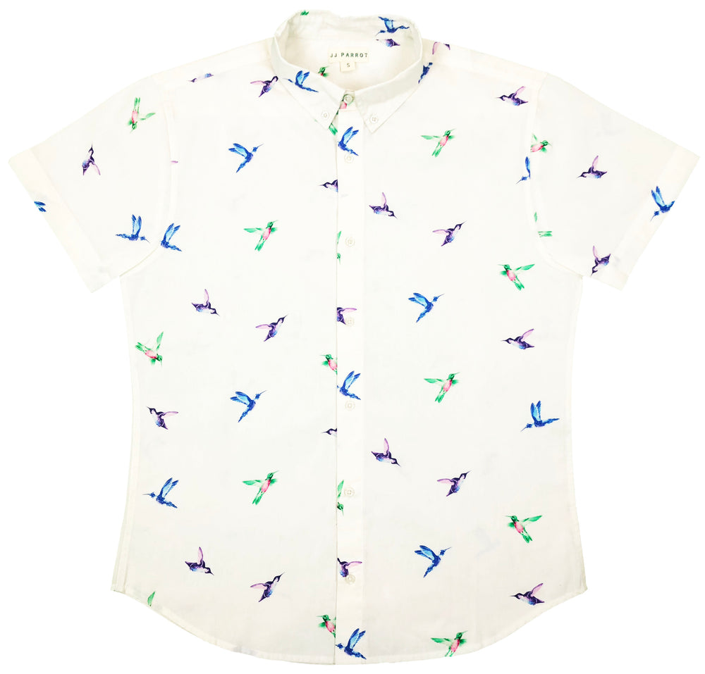 """Southern Hummingbird"" White Short Sleeve Button Down"