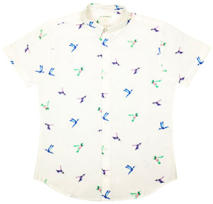 """Southern Hummingbird"" White Short Sleeve Button Down - JJ Parrot"