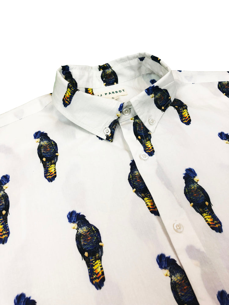 """JJ"" Parrot White Short Sleeve Button Down - JJ Parrot"