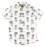 """Party Koala"" White Short Sleeve Button Down"