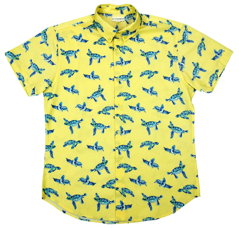 """I Like Turtles"" Yellow Short Sleeve Button Down - JJ Parrot"