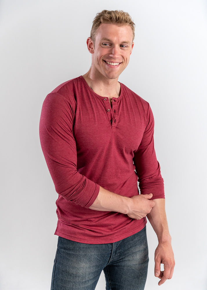 Faded Red Long Sleeve Henley