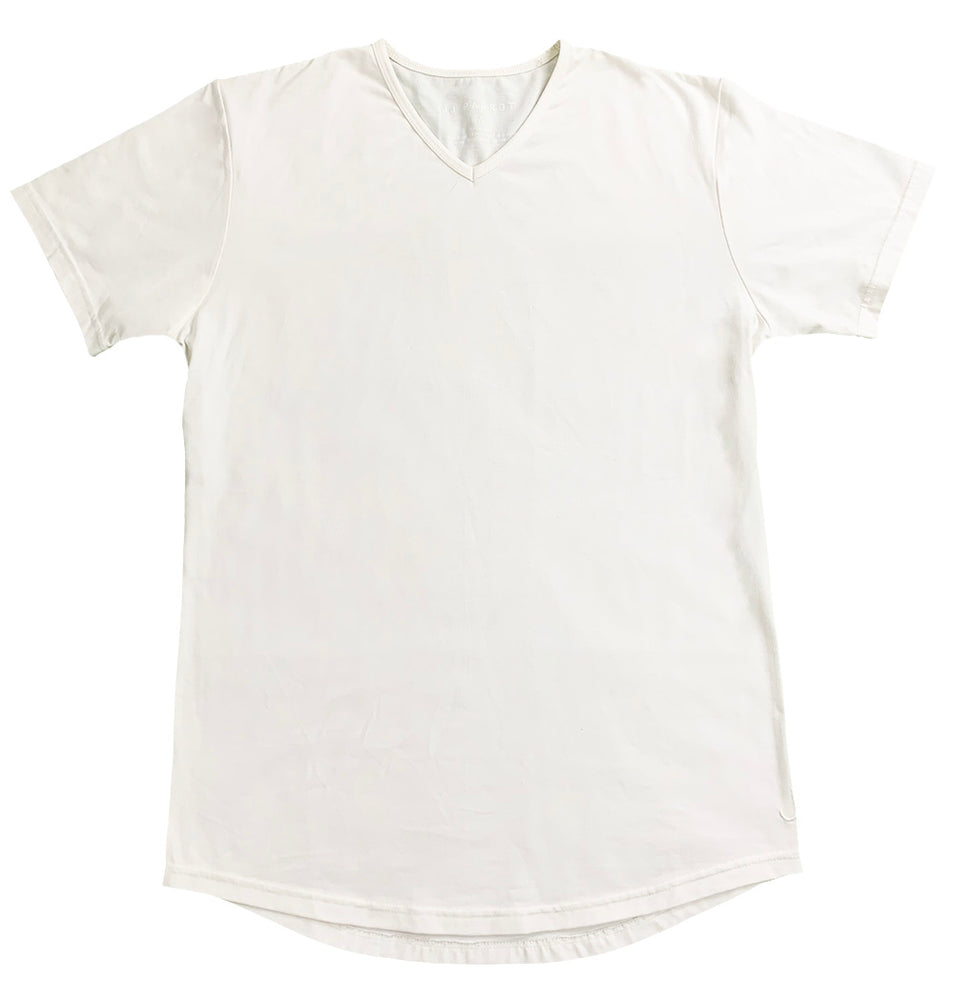 """Deer Butt"" White Rounded Bottom V-Neck - JJ Parrot"