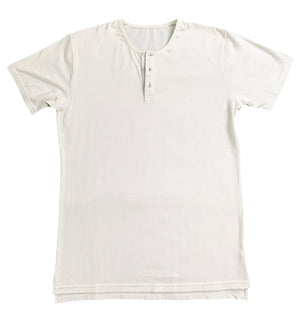 """Artifical Sweetner"" White Split Hem Henley - JJ Parrot"