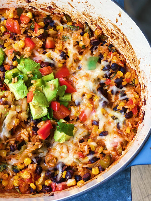 "One Pot ""Cheesy"" Mexican (Brown) Rice"