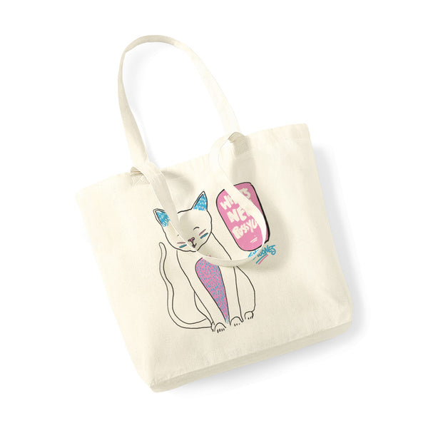 WHATS NEW PUSSY CAT NATURAL TOTE BAG