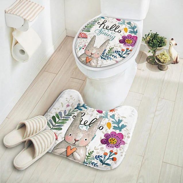 2pcs/set Rabbit Absorbent Non-Slip Bathroom Carpet Set