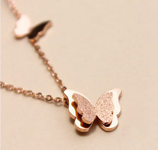 3 color Fashion Vintage Butterfly Necklace