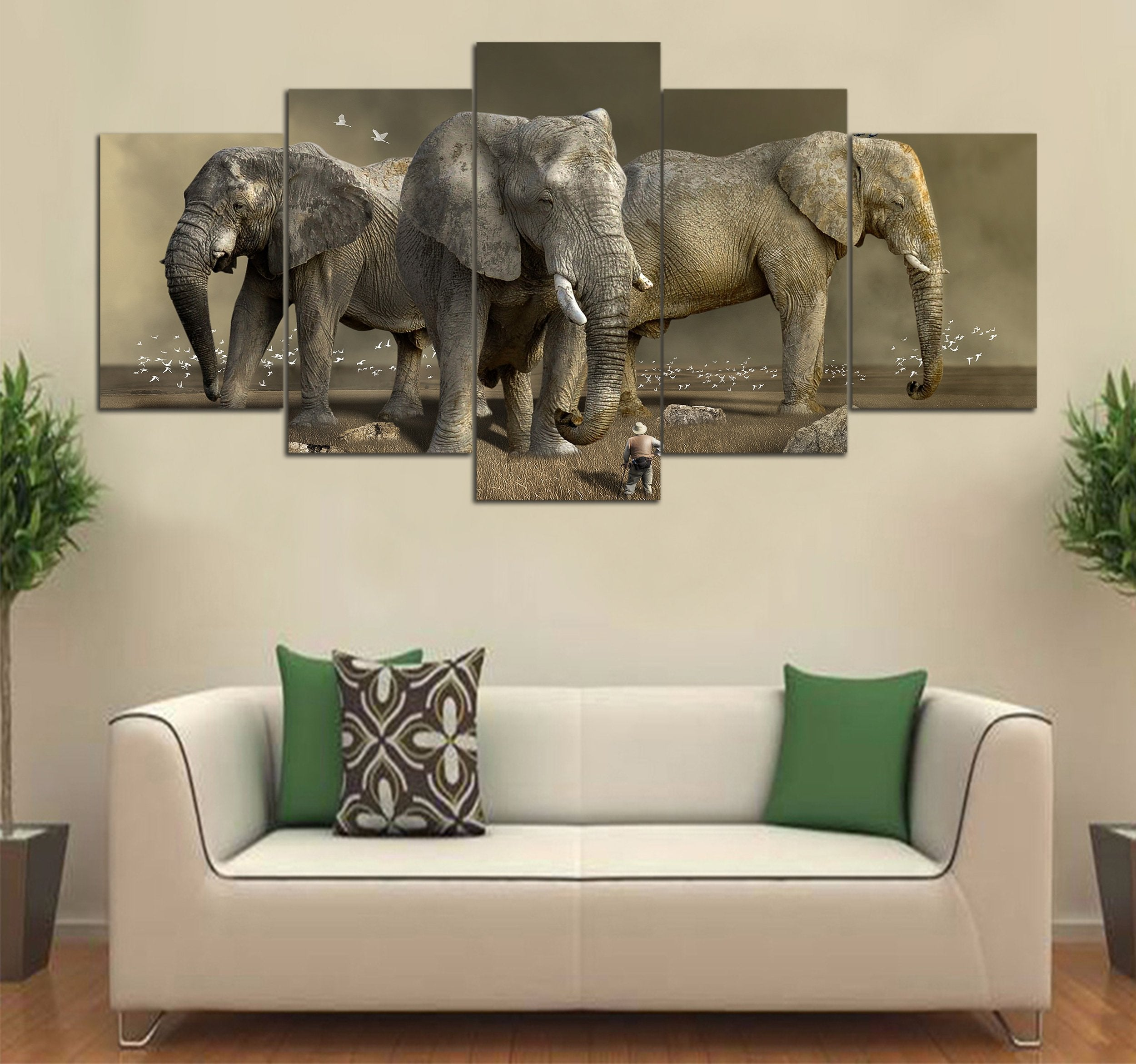 5-piece Elephant printed Canvas Wall Art SMAL120408 - Monkstars Inc.