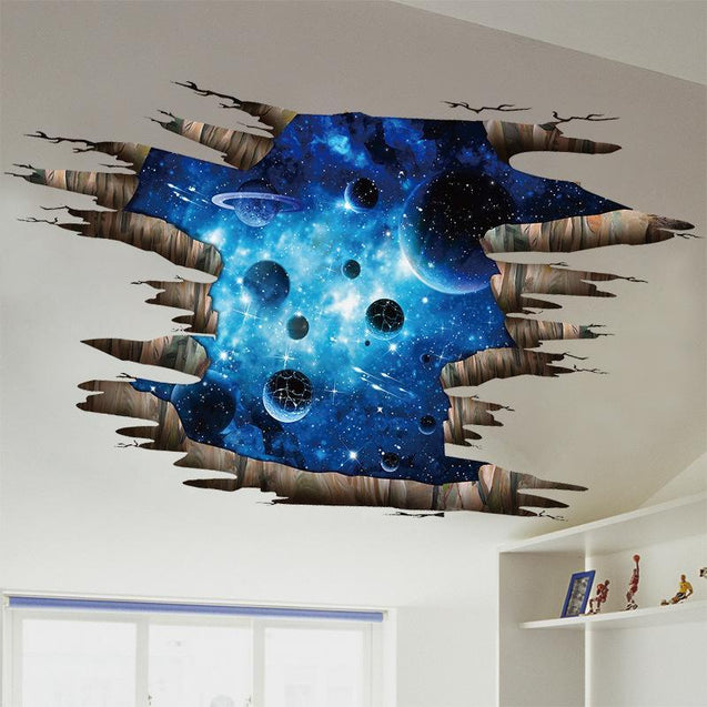 3D Blue Cosmic Space Wall stickers