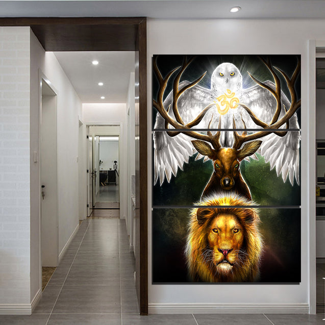 3-piece OM with Eagle, Deer and Tiger printed Canvas Wall Art SM240408