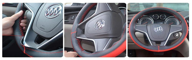 DIY Car Steering Wheel Artificial leather Cover With Needles and Thread