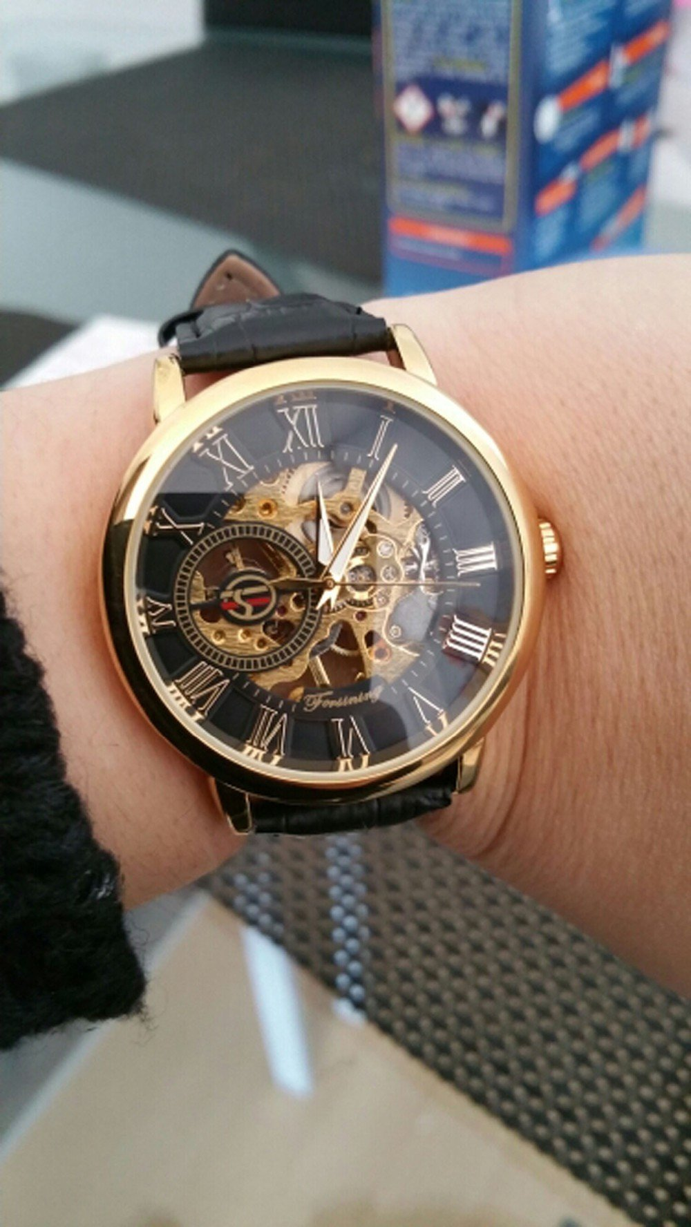 watches brand designer automatic blue top clock strap products black mens engraving skeleton men watch leather luxury winner