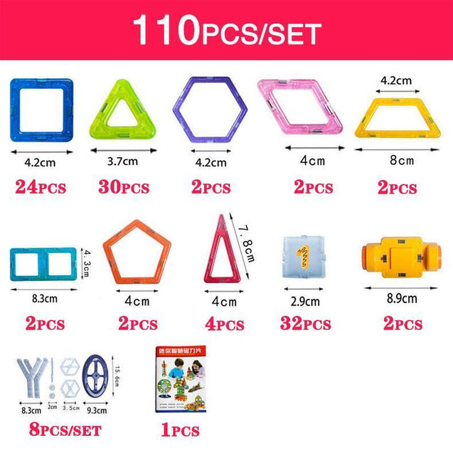 110-184pcs Educational Magnetic Designer Construction Set