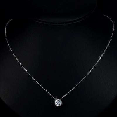 Simply small round 1 carat cubic zirconia solitaire pendant necklace simply small round 1 carat cubic zirconia solitaire pendant necklace aloadofball Images
