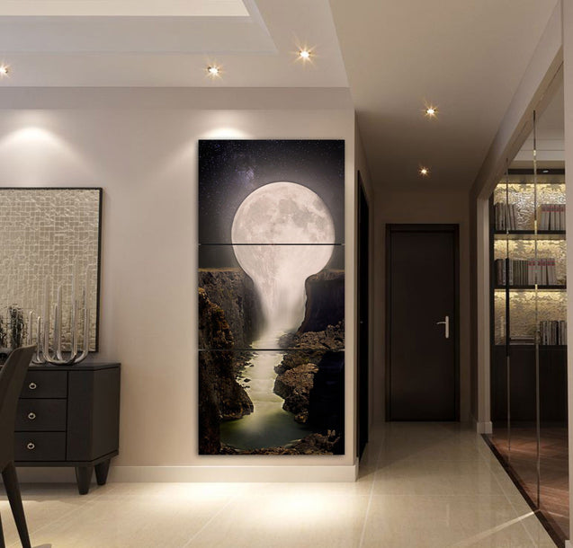 3-piece Fantastic Moon Waterfall printed Canvas Wall Art