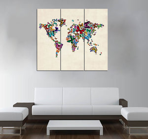 3 or 5-piece Butterflies Map of the World printed Canvas Wall Art