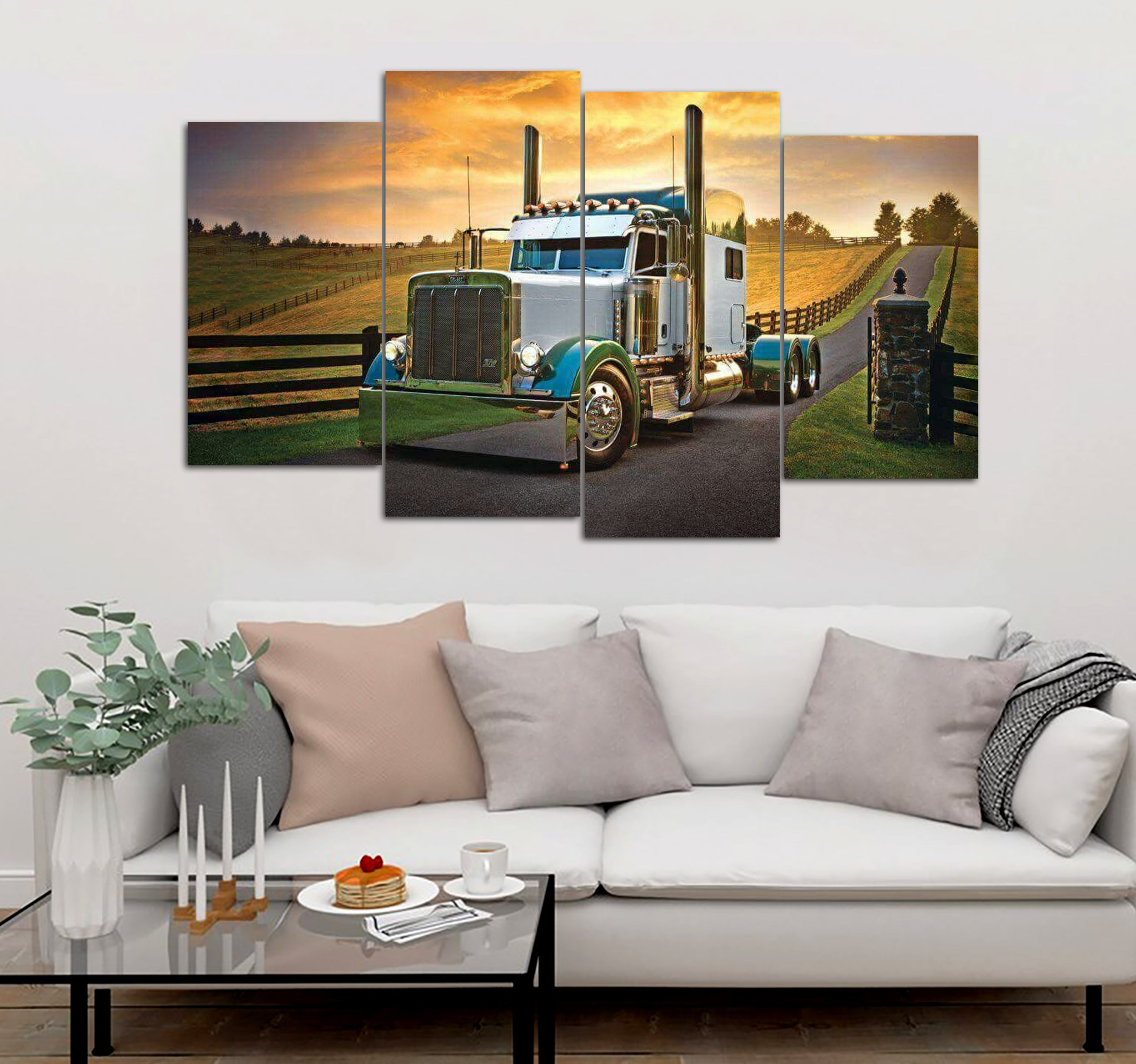 4 Piece Truck And Field Printed Canvas Wall Art