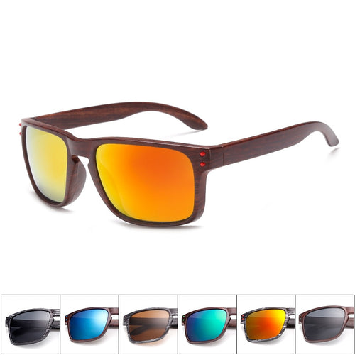 Square Wood Grain Sunglasses